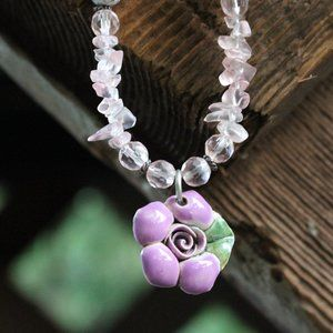 [5/$25] Purple Rose Flower Ceramic Necklace